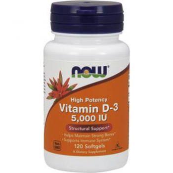 Now Foods, высокоактивный витамин D-3, 125 мкг (5000 МЕ), 120 капсул